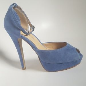 Aldo Suede Peep Toe Platform Heel